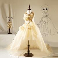 儿童公主裙小花童女蓬蓬裙长拖尾秋 钢琴婚礼演出主持人女童礼服裙 金香槟