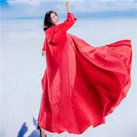中国风棉麻加绒连帽风衣外套女秋冬复古宽松巫师帽长款红色斗篷 红色 均码