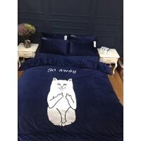 家纺潮牌贱猫宝宝绒贴布绣刺绣卡通全棉四件套被套中指猫冬季床品 藏蓝中指猫