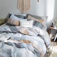 北欧简约棉条纹床上用品四件套格子双人被套棉床单式床品套件