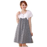 慈颜 韩版孕妇装春夏装 格子孕妇裙 假两件套孕妇连衣裙子01116