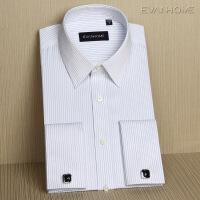 DP免烫男士长袖衬衫修身款商务条纹法式袖扣衬衣男职业装 白蓝紫条纹EFDP04