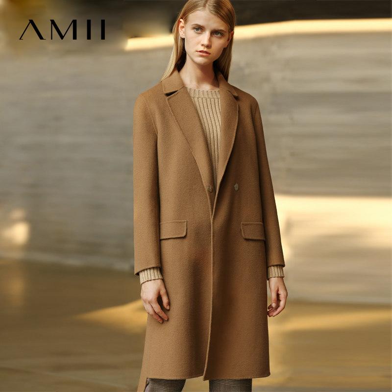 Amii[极简主义]2017年冬100%羊毛双面呢大衣修身中长款毛呢外套女