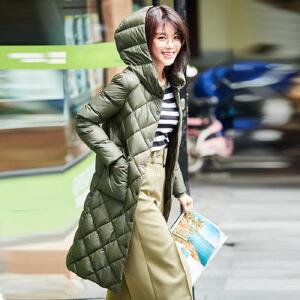 高梵2017冬季新款时尚白鸭绒轻薄长款羽绒服女 休闲韩版轻便外套