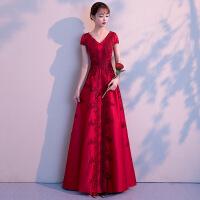 敬酒服新娘2018新款秋季时尚红色中式结婚晚礼服裙女显瘦修身长款
