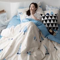 全棉卡通四件套床上用品床单被套简约纯棉1.5m/1.8m床双人