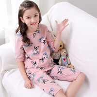 儿童睡衣夏季女童短袖中袖夏天小女孩公主大童家居服套装薄款