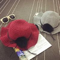 儿童帽子秋冬波浪沿盆帽针织渔夫帽大毛球女童帽保暖公主帽韩版潮