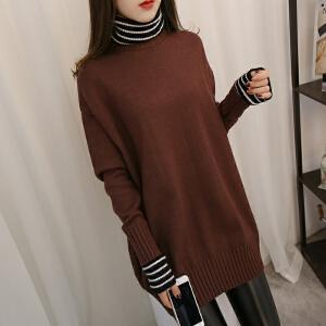 2018冬季新款女装韩版假两件针织衫条纹拼接高领中长款毛衣连衣裙