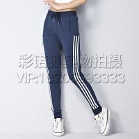 时尚针织运动卫裤女长裤收口小脚三条杠运动裤修身夏季薄款