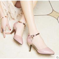 莱卡金顿夏季新款女鞋尖头细跟高跟鞋浅口珍珠女士中空凉鞋女百搭韩版6047