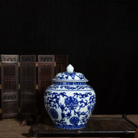 青花瓷罐子将军茶罐景德镇陶瓷大中小号茶叶罐家用密封储存罐茶仓