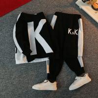 男童秋装套装洋气kk队服春秋季潮儿童运动两件套