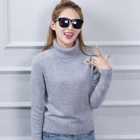 2017秋冬新款女士短款高翻领羊绒衫羊绒衫纯色针织衫毛衣打底保暖