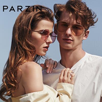 帕森2018新款时尚太阳镜女尼龙镜片彩色透明摩登金属圆框墨镜7704