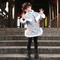 儿童中国风童装冬装过年喜庆宝宝装拜年服唐装女童旗袍裙冬新年装 旗袍(真兔毛)+披肩