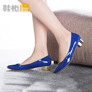 达芙妮旗下鞋柜春款潮粗跟单鞋女 韩版尖头浅口女鞋
