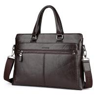 男包手提包横款男士公文包单肩斜挎包商务出差包包电脑包男皮包新