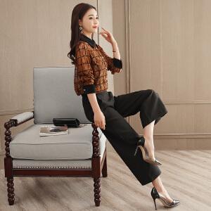 RANJU然聚2018女装春季新品新款韩版格子衬衫+阔腿裤时尚套装
