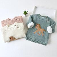儿童毛衣加绒保暖套头秋冬款小童宝宝婴儿针织衫