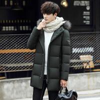 2017冬季新款男士加厚中长款带帽羽绒服男潮流韩版修身大毛领外套