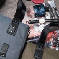 帆布包商务休闲公文包新款横款包包单肩男士帆布手提包购物袋背包妈咪黑色休闲斜挎包