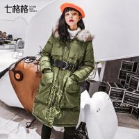 羽绒服女中长款2017新款冬装季韩国韩版宽松时尚潮轻毛领连帽外套
