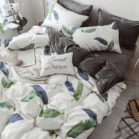 秋冬棉绒四件套加厚保暖水晶绒A全棉B法莱绒被套床单1.8m床上用品 2.0m(6.6英尺)床 床单式