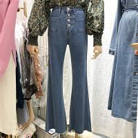 韩国ulzzang2018春新款sara高腰单排扣休闲牛仔裤显瘦微喇裤长裤