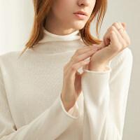 【预估价67元】Amii极简法式气质针织衫毛衣女2019秋新款套头薄款高领长袖打底衫