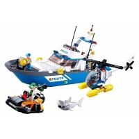 儿童积木玩具 警察巡逻艇拼装玩具警察飞机模型套装男孩儿童礼盒装生日礼物 刑侦两栖警队