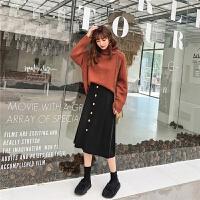七格格针织衫上衣女长袖2019新款冬季韩版高领套头宽松洋气毛衣潮