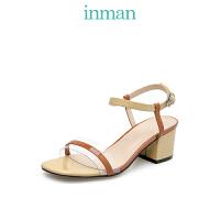 茵曼女鞋夏凉鞋女透明一字带高跟鞋配裙的单鞋仙女风