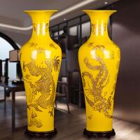 景德镇陶瓷龙凤呈祥大花瓶中国红落地大花瓶家居客厅现代中式摆件