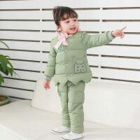 新冬款两件套儿童羽绒蝴蝶结卡通雨点女童套装中小童保暖棉裤