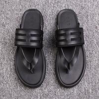 男士拖鞋2018夏季新款防滑人字拖时尚潮牌凉拖鞋外穿厚底沙滩凉鞋 黑色