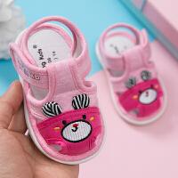 宝宝学步鞋夏季0-3岁婴儿叫叫鞋软底凉鞋