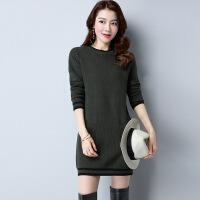 新款韩版毛衣女套头中长款纯色羊绒衫宽松针织羊毛打底衫秋冬内搭