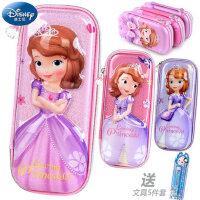 迪士女小学生尼文具盒儿童可爱铅笔盒女童笔袋冰雪奇缘苏菲亚笔盒
