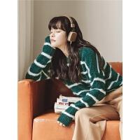 墨绿色条纹毛衣冬季女装2019新款韩版长袖套头短款chic雪尼尔上衣