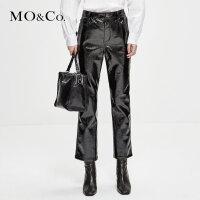 MOCO2018冬季新品漆光明线皮质休闲裤MA184PAT115 摩安珂