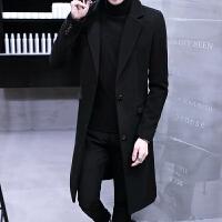 冬季男士风衣长款过膝帅气个性新款毛呢子大衣中长款男韩版潮
