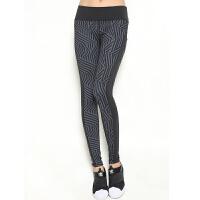 瑜伽长裤女2017秋装新款速干弹力跑步紧身裤女士健身房条纹运动裤 黑色