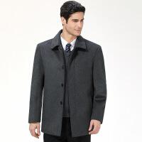 秋冬新款男式羊绒夹克男装翻领中老年休闲爸爸装宽松加厚毛呢外套