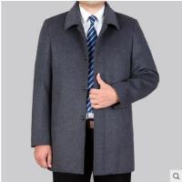 呢子气质外套翻领单排扣中长款加厚呢子外套中老年男士商务休闲羊绒大衣
