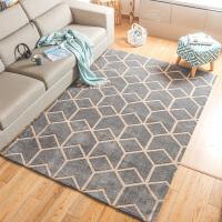 欧式简约几何客厅茶几大地毯 北欧风卧室房间床边脚踩防滑地垫子 深灰色 简单空间