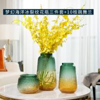 轻奢玻璃花瓶摆件客厅插花透明水培养渐变玄关电视柜餐桌创意花器