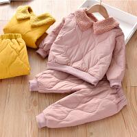 冬季加绒套装女童加绒休闲套装保暖