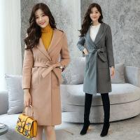 中长款妮子大衣女装秋冬新款韩版时尚显瘦系带风衣女毛呢外套 YQ004湖蓝色