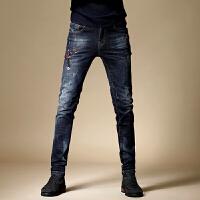 复古牛仔裤男破洞修身小脚裤男士做旧牛仔长裤子男韩版男裤 蓝色